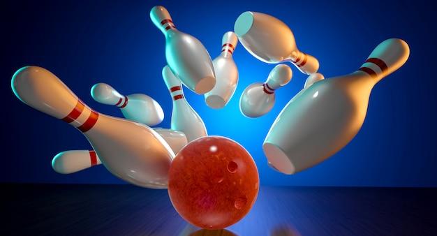 3d beeld van bowlingactie Premium Foto