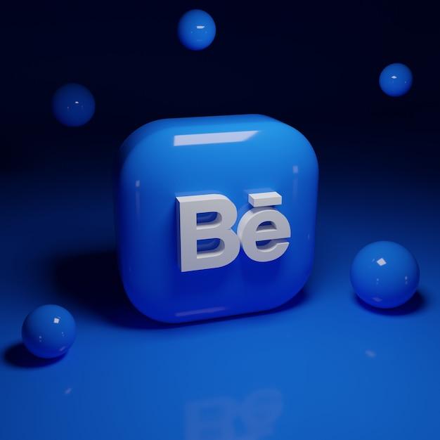 3d behance logo-applicatie Premium Foto