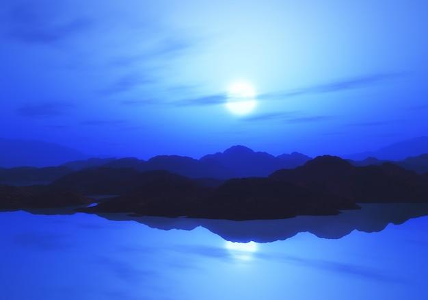 3d berglandschap met zonsonderganghemel Gratis Foto