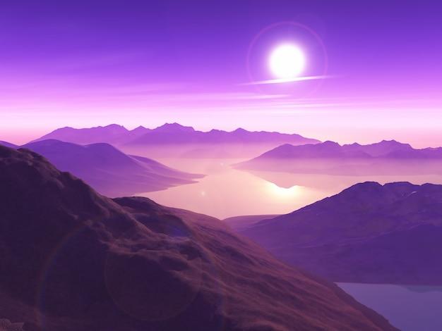 3d berglandschap tegen zonsonderganghemel met lage wolken Gratis Foto