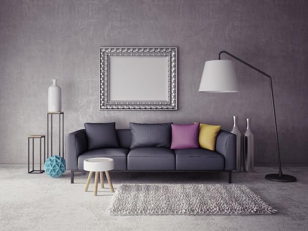 3d binnenlandse woonkamer Premium Foto