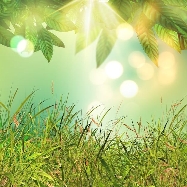 3d bladeren en grasachtergrond Gratis Foto
