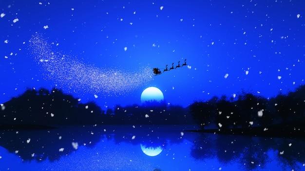 3d boomlandschap tegen een nachthemel met santa en zijn rendieren Gratis Foto