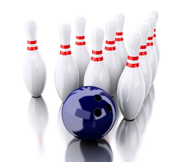 3d bowling pinnen en blauwe bal Premium Foto