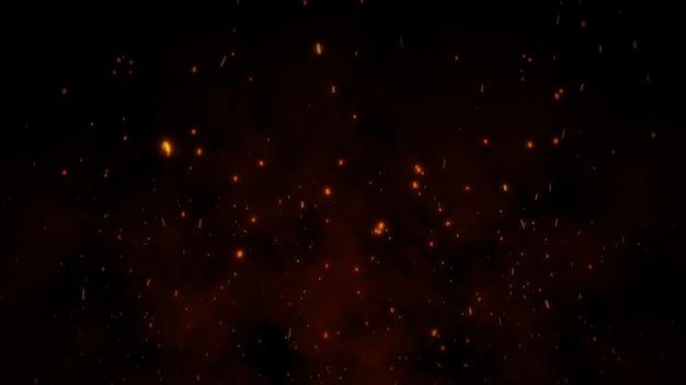 3d brandende sintels gloeien, brand gloeiende deeltjes op zwarte achtergrond Premium Foto