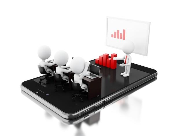 3d bussines-karakters die een online vergadering op tablet hebben Premium Foto