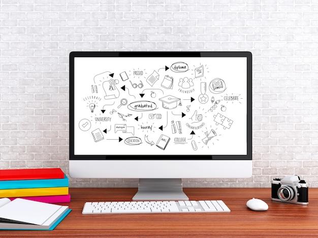 3d computer met onderwijs schets Premium Foto