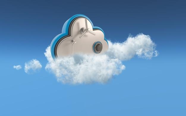 3d conceptueel beeld van beveiliging in cloudopslag Gratis Foto