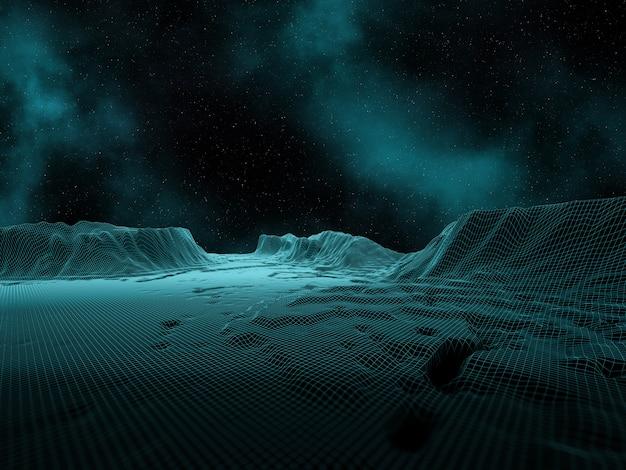 3d digitaal landschap met ruimtehemel en nevel Gratis Foto