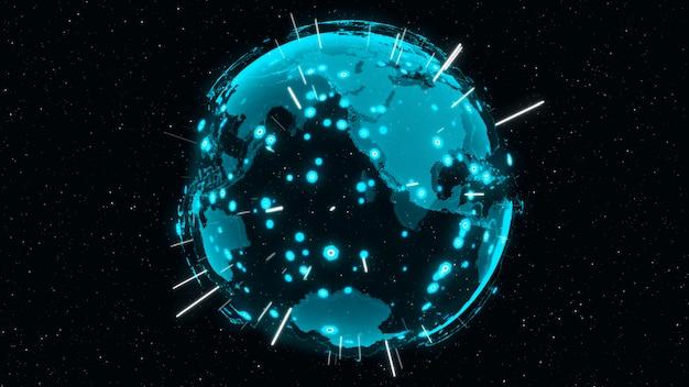 3d digital earth toont concept van wereldwijd netwerk Premium Foto