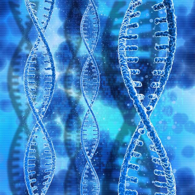 3d dna-strengen op een binaire codeachtergrond Gratis Foto