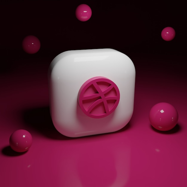 3d dribbel logo-applicatie Premium Foto