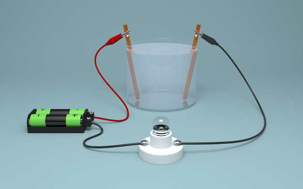 3d-elektrolyse van water met batterij en lamp. Premium Foto