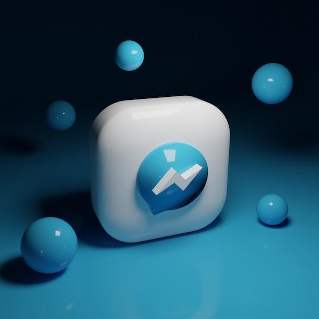 3d facebook messenger-logo-applicatie Premium Foto