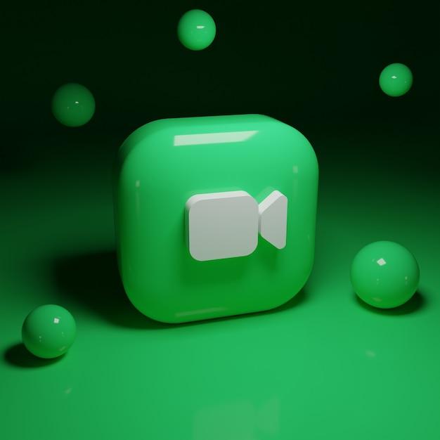 3d facetime logo-applicatie Premium Foto
