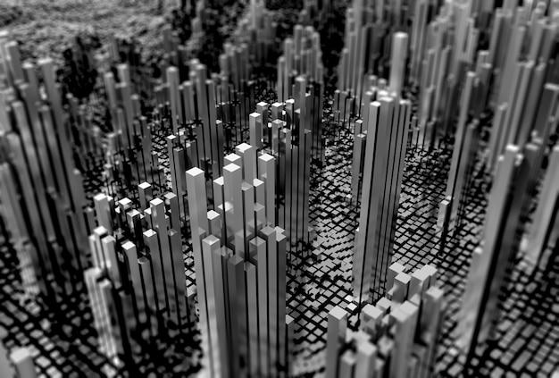 3d-futuristische landschap van glanzende kubussen in monotoon Gratis Foto