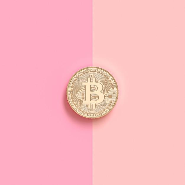 3d geef beeld van een gouden bitcoinmuntstuk op een roze oppervlakte terug Premium Foto