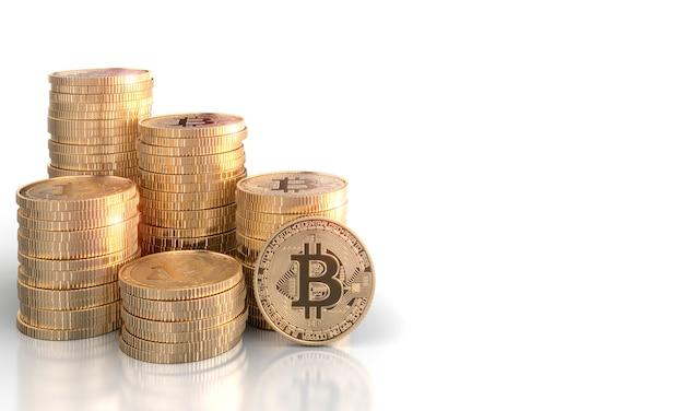 3d geef stapels bitcoin gouden muntstukken op een wit terug. Premium Foto