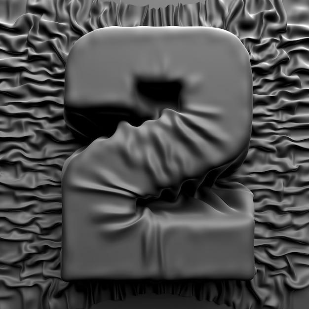 3d geef van abstract kunstteken of symbool terug, wijd nummer twee behandeld donkergrijs zijdegordijn met rimpels Premium Foto