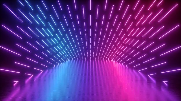 3d geef van abstracte neon lege uitvoeringsfase terug Premium Foto