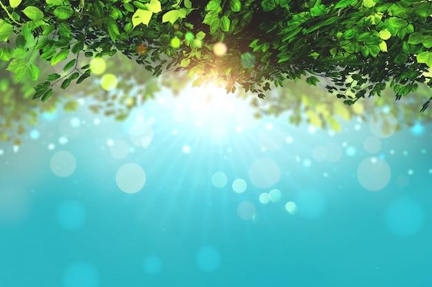 3D geef van bladeren op een blauwe hemel achtergrond met bokeh lichten Gratis Foto