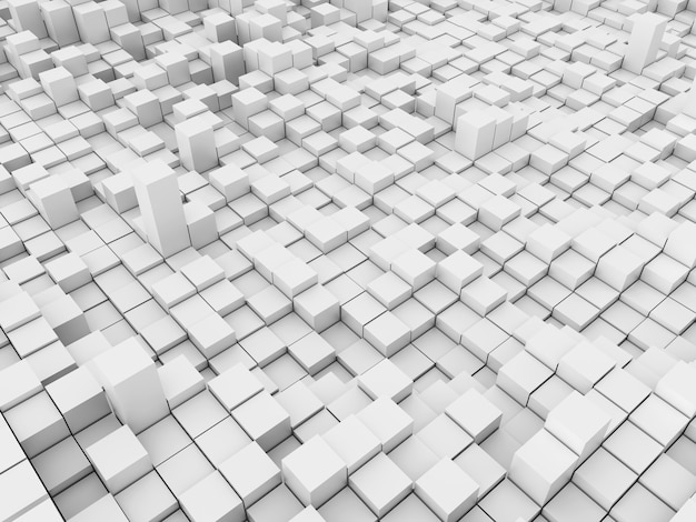 3d geef van een abstract landschap met het uitdrijven van blokken terug Gratis Foto