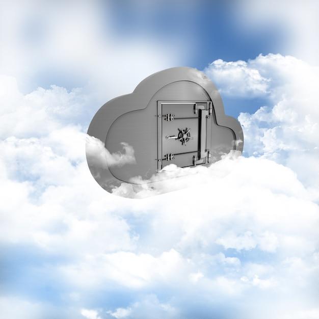 3d geef van een concept van online opslag in de wolken Gratis Foto