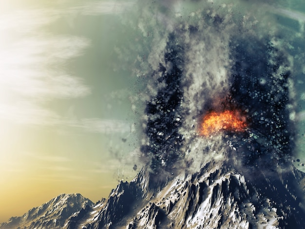 3d geef van een exploderende vulkaan Gratis Foto