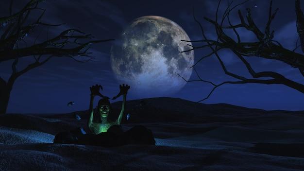3d geef van een griezelige halloween achtergrond met zombie losbarsten uit de grond Gratis Foto
