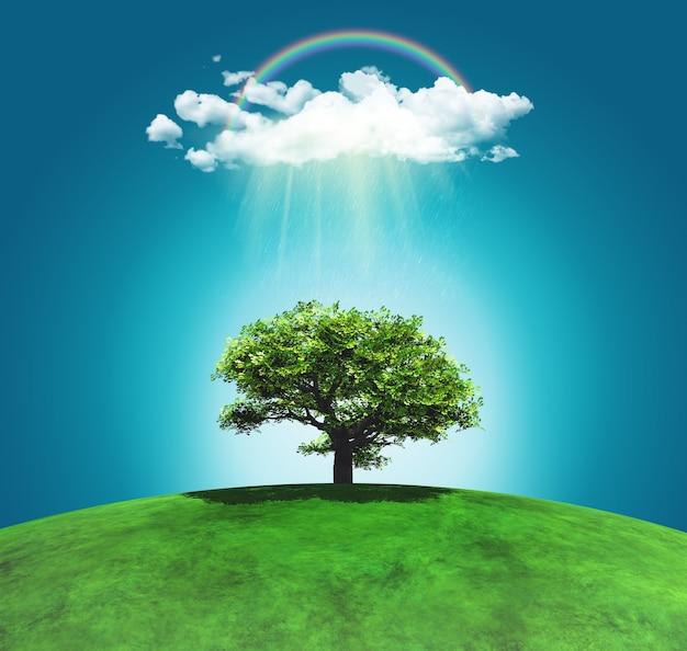 3D geef van een met gras begroeide gebogen landschap met een boom regenboog en regenwolk Gratis Foto