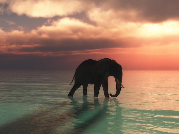 3d geef van een olifant terug die in de oceaan tegen een zonsonderganghemel loopt Gratis Foto