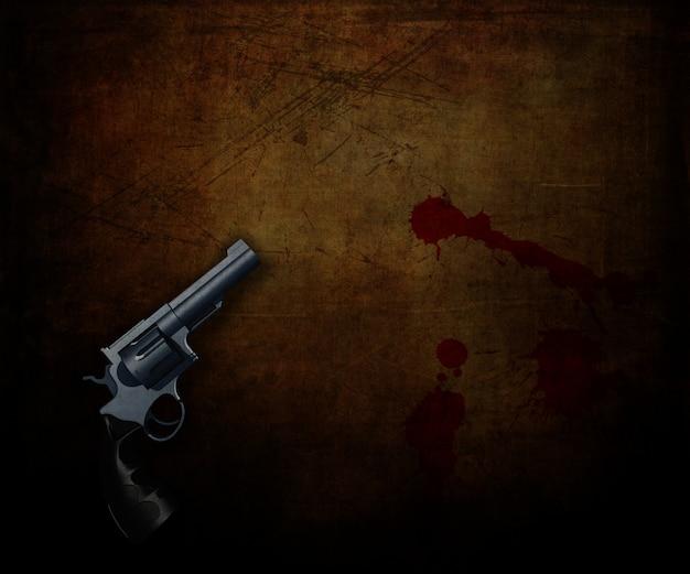 3d geef van een pistool op een grungeachtergrond terug met het bloed ploetert Gratis Foto