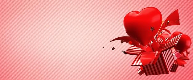 3d geef van giftdoos terug en het hart duikt op en explodeert in het concept liefde en gelukkige valentijnskaart. Premium Foto