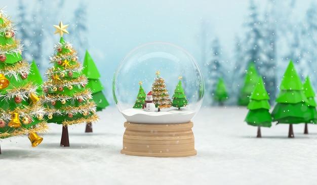 3d geef van kerstmissneeuwbol met sneeuwman en bomen terug. 3d-weergave Premium Foto
