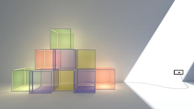 3d geef van lichte doospastelkleur en exemplaarruimte terug Premium Foto