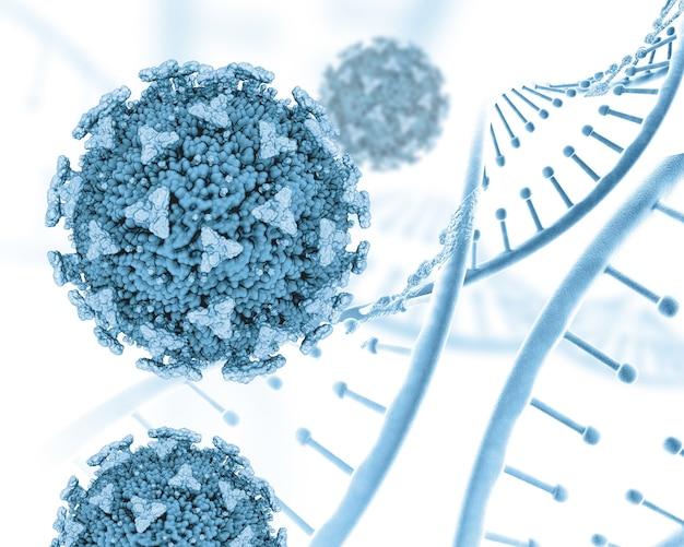 3d geef van medisch met dna-strengen en covid 19-cellen terug Gratis Foto