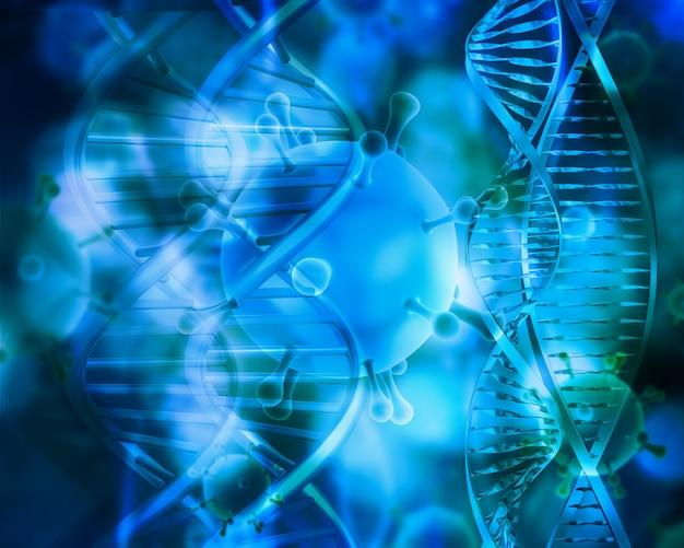 3d geef van medisch met dna-strengen en viruscellen terug Gratis Foto