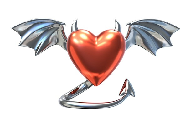 3d geef van metaal rood hartvorm met duivelshoornen en chroomvleugels terug die op wit worden geïsoleerd Premium Foto