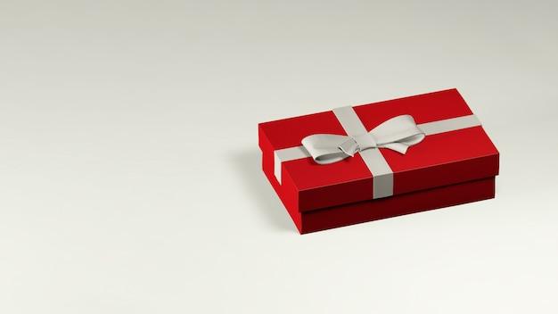 3d geef van rode giftdoos terug die met witte lint en boog wordt verfraaid Premium Foto