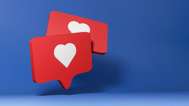 3d geef van sociaal media pictogram terug, zoals symbool op blauwe achtergrond. Premium Foto