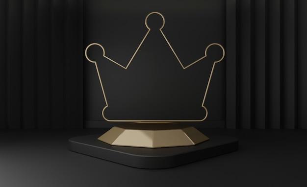 3d geef van zwarte geïsoleerde voetstukstappen terug, gouden kroonstadium met gouden frame op zwarte Premium Foto