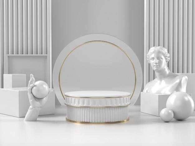 3d geef witte podiumtribune en klassiek roman element terug Premium Foto