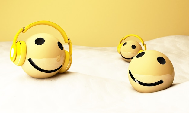 3d gele emoji's met koptelefoon Premium Foto