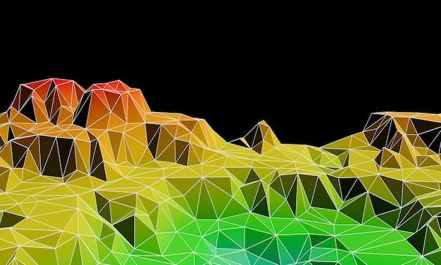 3d gesmolten laag poly topografische berg met draadframe lijnen. Premium Foto