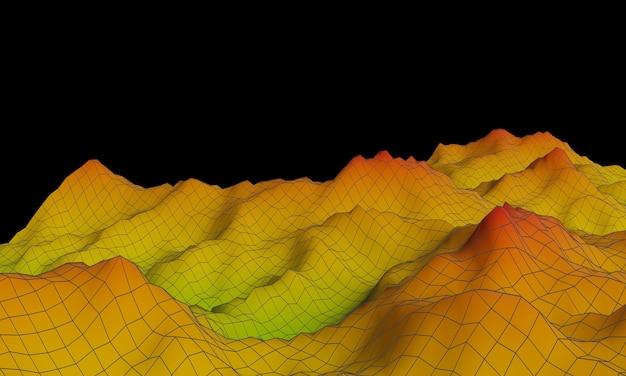 3d gesmolten topografische berg met draadframe lijnen. Premium Foto