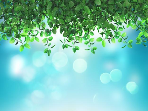 3d groene bladeren op een defocussed blauwe achtergrond Gratis Foto