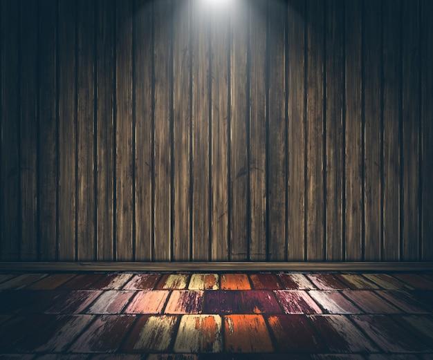 3d grunge houten interieur met schijnwerpers schijnt gratis foto