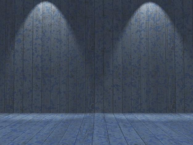 3d grunge interieur met houten blauwe geschilderde muren en vloer