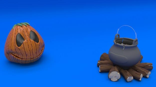 3d halloween-achtergrond met pompoenen Gratis Foto