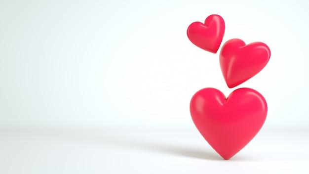 3d-hart witte achtergrond render Premium Foto